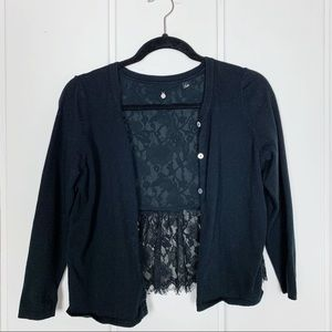 Anthro Knitted &Knotted Cropped Lace Back Cardigan